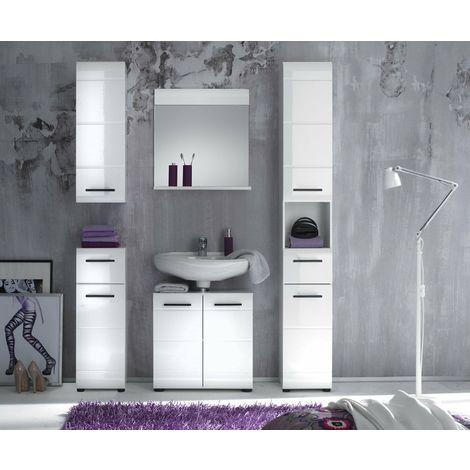 Mobile bagno set completto mobile lavabo serie luxury bianco laccato ...