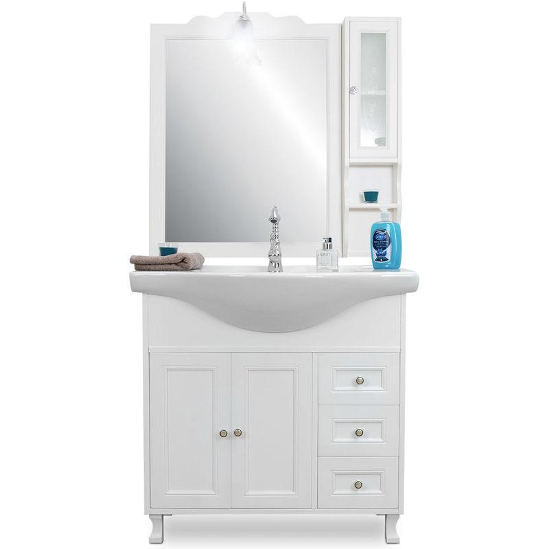 Mobile bagno shabby chic 85 cm bianco opaco con specchio e pensile