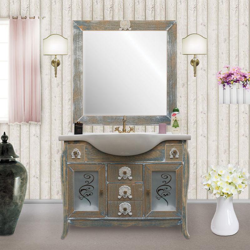Mobile bagno shabby chic in rovere stile provenzale 108 cm