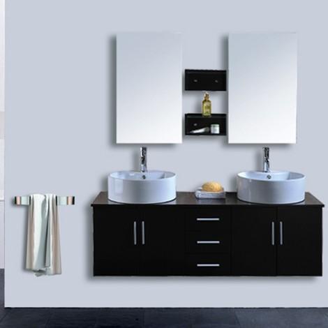 Mobile bagno sheri doppio lavabo 150 cm colore wenge