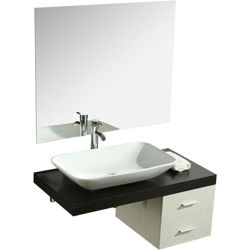Specchio Bagno Nero.Mobile Bagno Sospeso 100 Cm Lavabo E Specchio Vorich Picasso Bianco E Nero