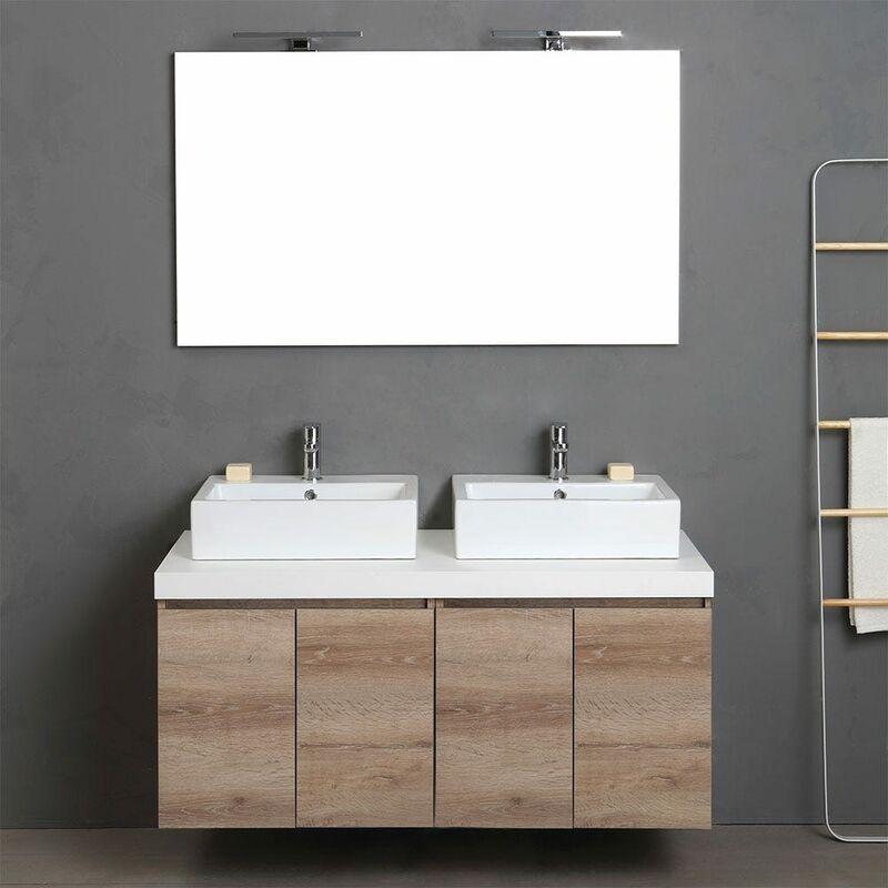 Mobile Bagno Con Due Lavabi.Mobile Bagno Sospeso 120 Cm Con Doppio Lavabo E Ante