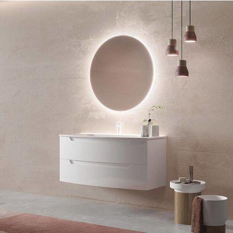 Mobile bagno sospeso 120 cm in legno bianco opaco con for Mobile bagno legno