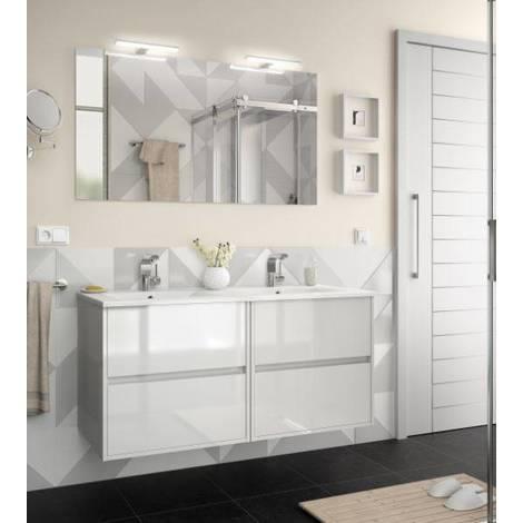 Mobile bagno sospeso 1200 in legno laccato bianco lucido con lavabo Noja