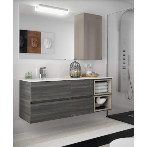 Mobile bagno sospeso 140 cm color alsazia con specchio for Arredo bagno sospeso