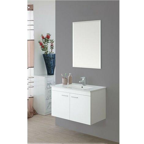Mobile bagno sospeso 2 ante bianco lucido lavabo specchio composizione  81x47 cm