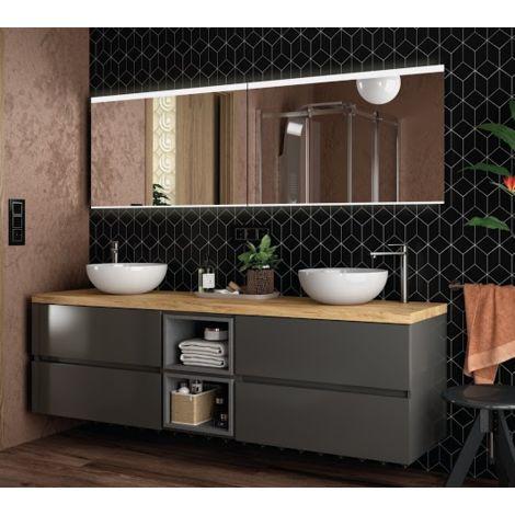Mobile bagno sospeso 200 cm grigio lucido con specchio | grigio ...