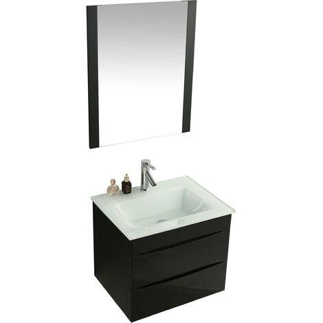 Mobile Bagno Sospeso 60 Cm Lavabo E Specchio Vorich Easy Nero