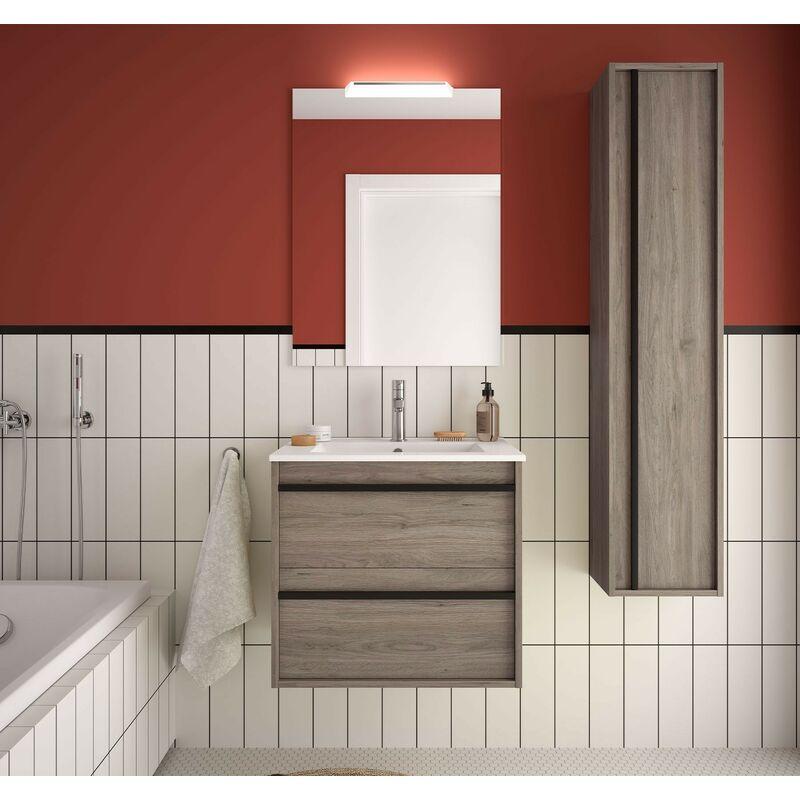 Mobile bagno sospeso 60 cm Nevada in legno Rovere eternity con lavabo in porcellana   60 cm - Con specchio e lampada LED - CAESAROO