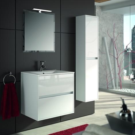 Mobile bagno sospeso 600 in legno laccato bianco lucido con lavabo Noja