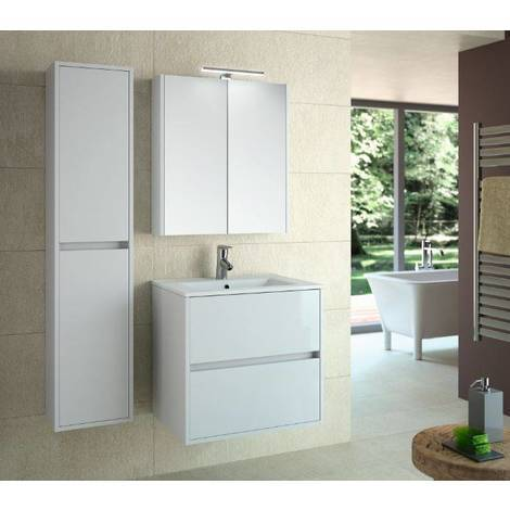 Mobile bagno sospeso 600 laccato bianco con lavabo e specchiera Noja ...
