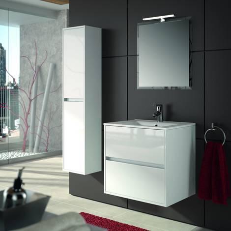 Mobile bagno sospeso 700 in legno laccato bianco lucido con lavabo Noja