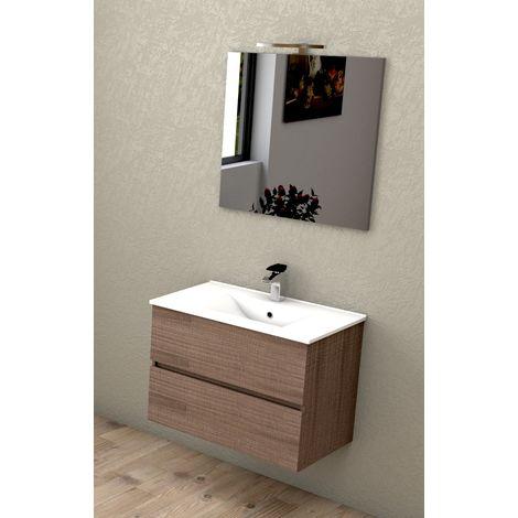 Mobile Bagno Sospeso 75 Cm Con Lavabo in Ceramica Specchio e Luce Led