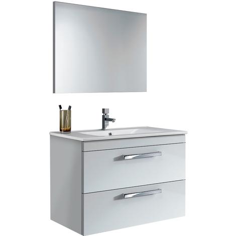 Mobile Con Gli Specchi.Mobile Bagno Sospeso 80 Cm Laccato Bianco Lucido Con Specchio