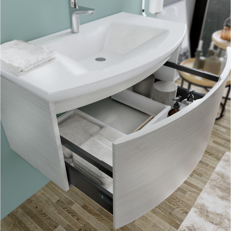 Mobile Bagno Sospeso 80 Cm.Mobile Bagno Sospeso 80 Cm Venere In Legno Nordico Con Lavabo In Ceramica