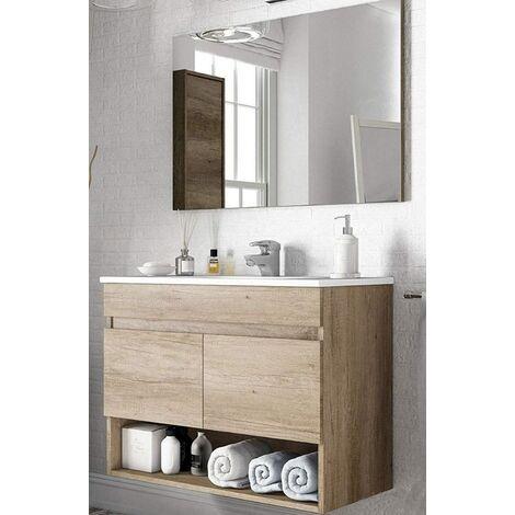 Specchio Bagno Con Ante.Mobile Bagno Sospeso 80cm 2 Ante Cassetto Legno Specchio Lavabo