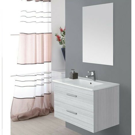 Mobile bagno sospeso 81 cm grigio due cassetti lavabo specchio ...