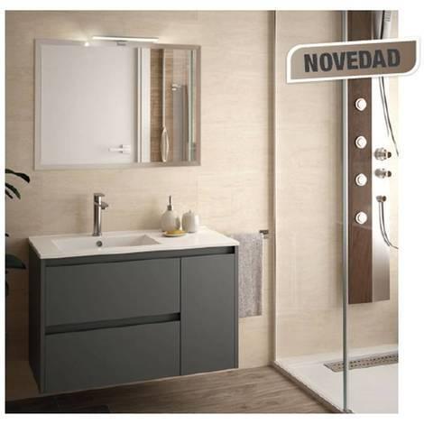 Mobile bagno sospeso 855 in legno grigio opaco con lavabo Noja ...