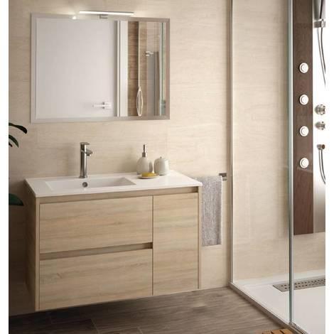 Mobile bagno sospeso 855 in legno marrone caledonia con for Mobile bagno legno