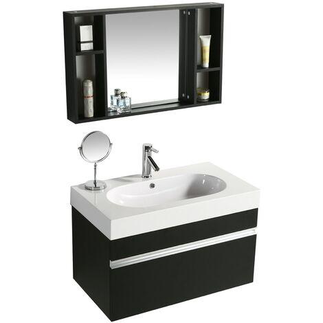 Idea Mobili Da Bagno.Mobile Bagno Sospeso 90 Cm In Mdf Con Specchiera Vorich Idea Nero
