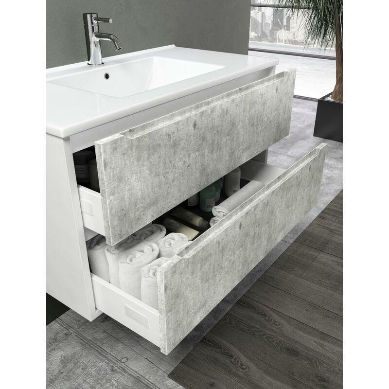 Mobile Bagno Sospeso 90 Cm Lavabo Specchio E Lampada A Led Tft Belsk Bianco  E Cemento