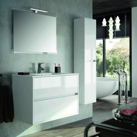 Mobile bagno sospeso 900 in legno laccato bianco lucido con lavabo Noja