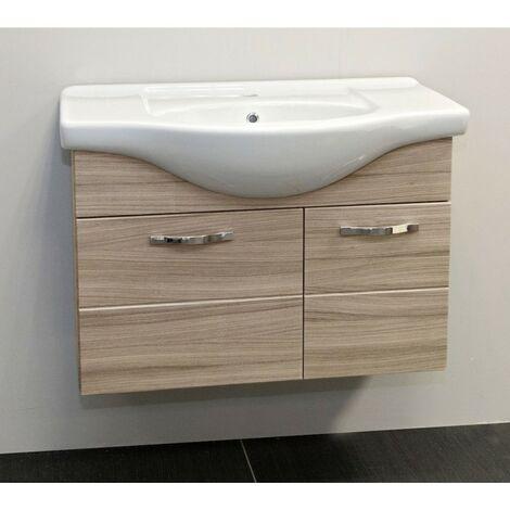 Mobile bagno sospeso cm 85 arredo con 2 ante e lavabo in ceramica Olmo