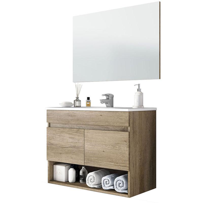 Mobile bagno sospeso modello Plant con lavabo e specchio