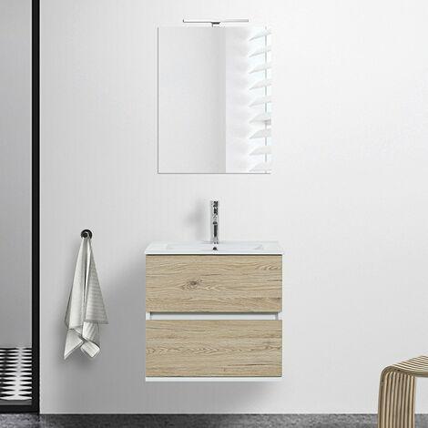 Mobile bagno sospeso Duble 60 cm 2 cassetti in rovere africa lavabo e specchio