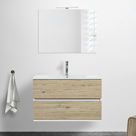 Mobile bagno sospeso Duble 90 cm 2 cassetti rovere africa lavabo e specchio