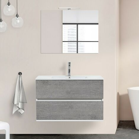 Mobile bagno sospeso Duble sospeso 90 cm 2 cassetti grigio industrial lavabo e specchio
