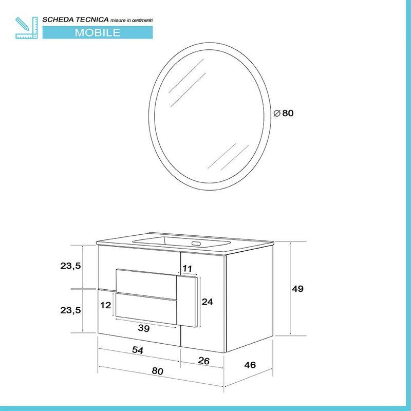 135 Rovere Effetto Legno Pensile Bagno Stile Industrial Sospeso H