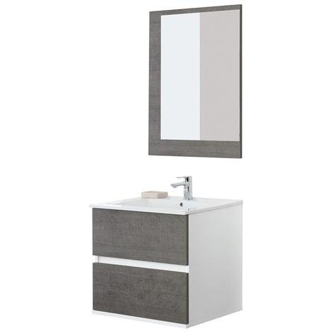 Consolle Bagno In Ceramica.Mobile Bagno Sospeso Feridras 60cm Fabula Cemento Con Specchio E