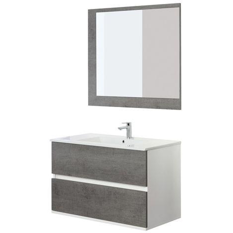 Mobile Bagno Sospeso Feridras 90 cm Fabula Cemento con specchio
