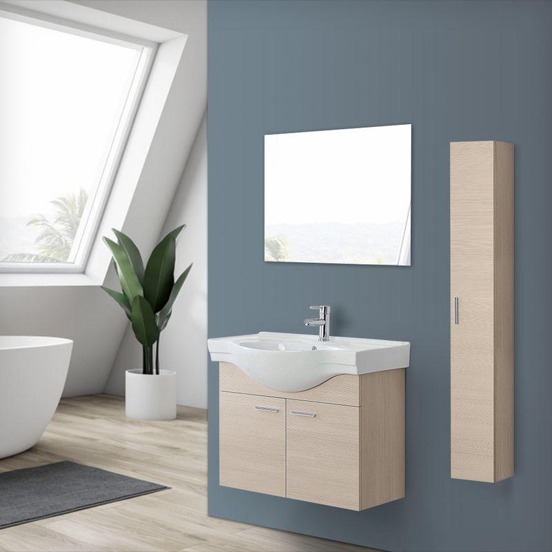 Mobile bagno sospeso in legno Larice a 2 ante con lavabo e specchio incluso L.81,5