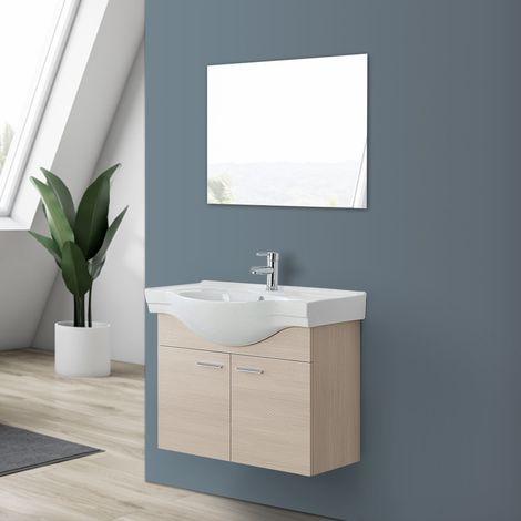 Mobile bagno sospeso in legno Larice a 2 ante con lavabo e specchio ...