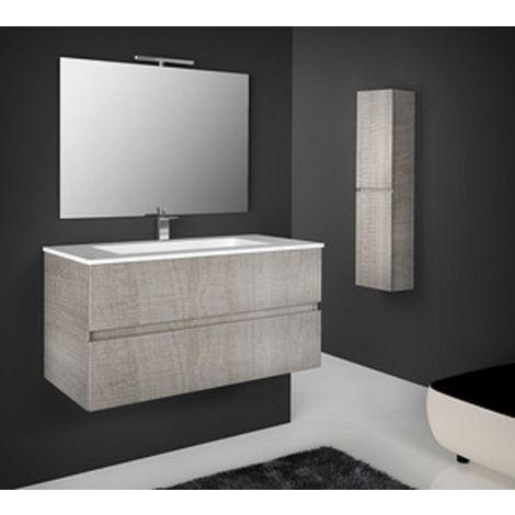 Mobile bagno sospeso legno 76x44x45h rovere corda specchio lavabo - Capaldo