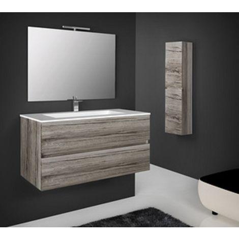 Mobile bagno sospeso legno 76x44x45h rovere grigio specchio lavabo - Capaldo
