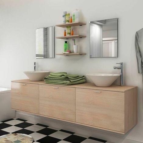Mobile bagno sospeso set mobili completo specchi lavabo ripiani beige