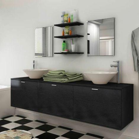 Mobile bagno sospeso set mobili completo specchi lavabo ripiani nero