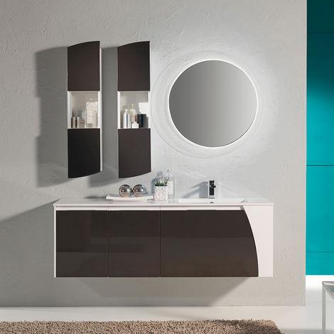 Mobile bagno sospeso Soft04 cm 152x190x46 laccato lucido grigio
