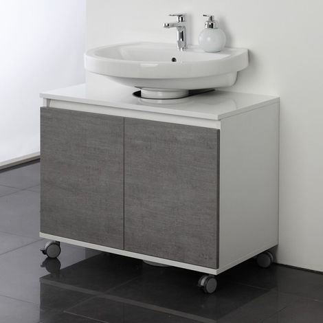 Cassettiera Con Rotelle Bagno.Mobile Bagno Sottolavabo 80 Cm Con Ruote Cemento Copricolonna Moderno