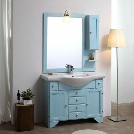 Arredo Bagno Colore Azzurro.Mobile Bagno Stile Shabby Chic Decape Azzurro Lavanda Cm 105