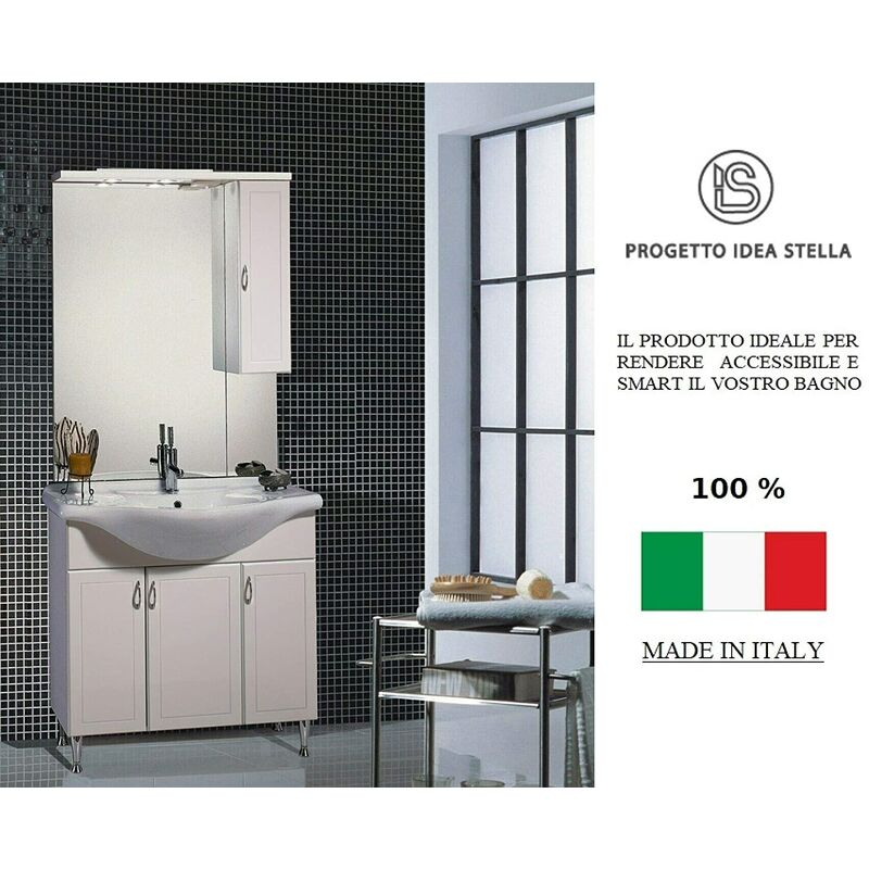 Mobile Bagno Toscany 85 cm Con Lavabo in Ceramica Specchio e 2 Luci con Faretti - IDEA STELLA