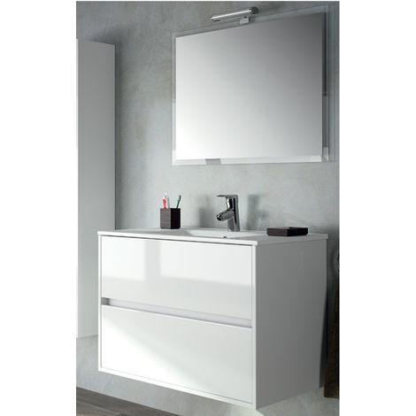 Mobile Con Gli Specchi.Mobile Bianco Sospeso Con Lavabo Specchio E Lampada Alogena Cerniere