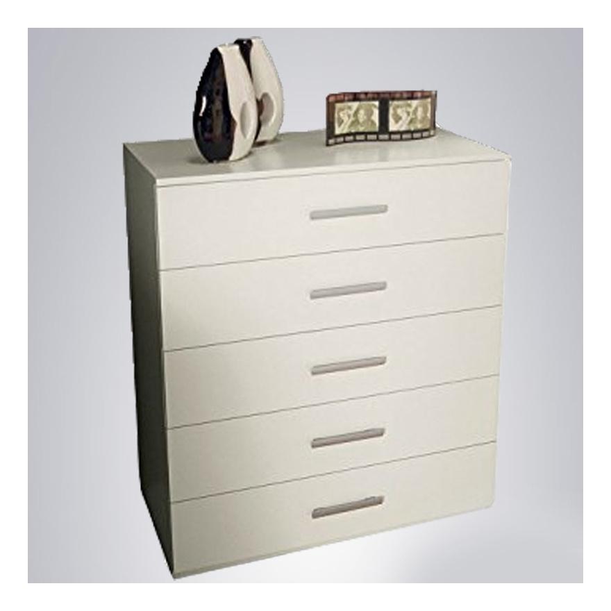 Mobile cassettiera 5 cassetti bianco opaco comò per camera da letto ...