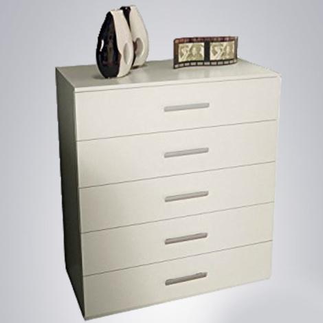 Mobile cassettiera 5 cassetti bianco opaco comò per camera da letto  51.15.153