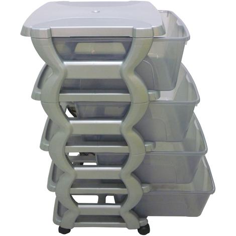 Cassettiere In Plastica Con Rotelle.Mobile Cassettiera Grigia Con 4 Cassetti Trasparenti In Dura Plastica Di Resina Con Ruote Porta Oggetti Abiti