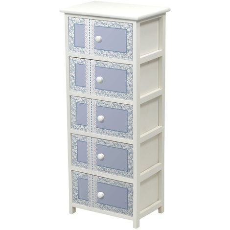 Mobile cassettiera Macramè bianca in legno 5 cassetti in legno azzurro con  ricamo bianco comodino contenitore a torre porta tutto per camera corridoio  ...
