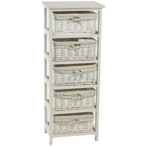Mobile cassettiera Sonia bianca in legno 5 cassetti in vimini ...